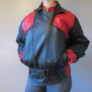 [MC GEAR] Vintage Leather Motorcycle Jacket Size 8